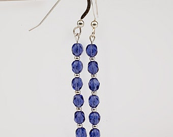 Blue czech crystal and sterling earrings