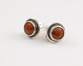 Red Jasper and Sterling Stud Earrings