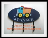 Dump Truck Wall Hooks for the Nursery, Little Boys Bedroom or Bath - Childrens Wall Decor