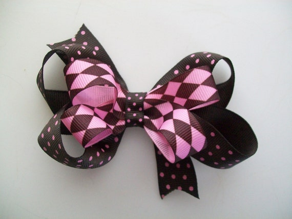 Pink and Brown Polka Dot Argyle Print Stacked Bow - Medium 3.5 Inch Wide