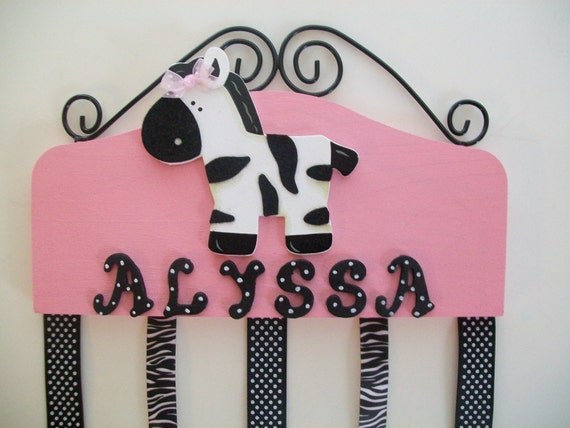 Zebra girls wall nursery bedroom decor bowholder bows - Comely pictures of girl zebra bedroom design and decoration ...
