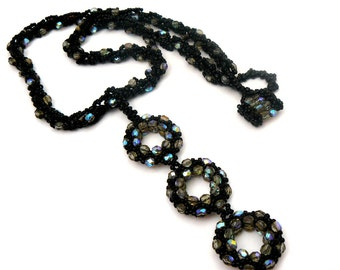 Black and Grey Necklace, Black Statement Necklace, Beadwork Pendant, Evening Wear Jewelry, Bead Woven Circles, Long Pendant, Metal Free