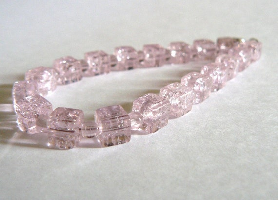 Pink Beaded Bracelet Valentine's Day Pastel Bead Jewelry Glass Cube Beads Clearance Free Shipping