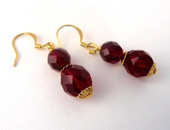 Red Beaded Earrings Dark Red Bead Earrings Garnet Fire Polished Glass Drops Dramatic Red Jewelry Garnet Dangles