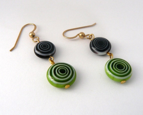 Christmas in July Sale 20% Off Olive Green and Black Earrings, Green and Black Circle Discs