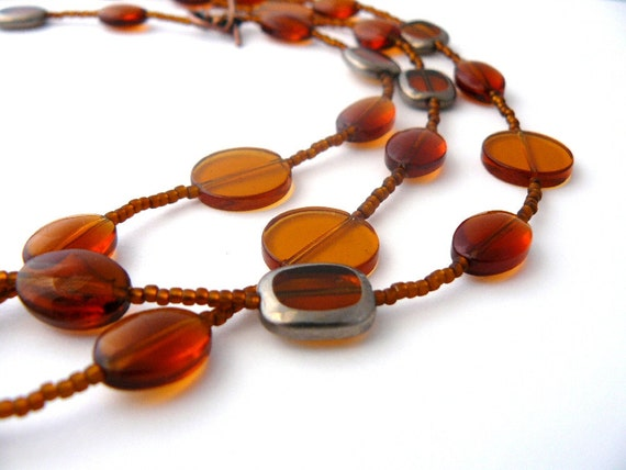 Amber Beaded Necklace, Topaz Beaded Necklace, Amber Glass, Long