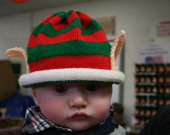 Ready To Ship- size 1- 3 months -14.5 inch Red and Green Striped Christmas Hat with Elf Ears for Infants and Toddlers