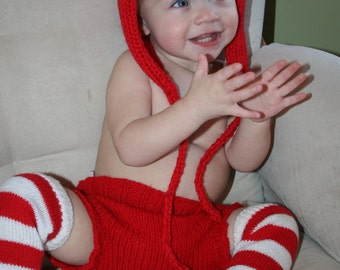 SALE Ready To Ship- size Newborn- Red Diaper Cover- Hand Knit-