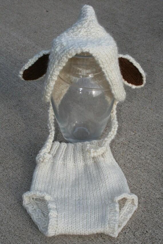 Newborn Off White -Bone- beige -Diaper Cover- Hand Knit- photo prop- tutu and legwarmers