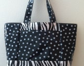 Beth's large polka dots and zebra oilcloth tote bag with exterior pockets