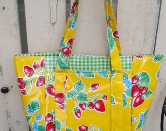 Beth's Yellow Strawberry Oilcloth Multi Market Tote Bag