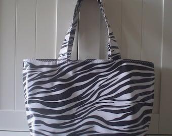 Beth's Large Oilcloth Zebra Market Tote Bag