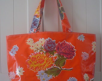 Beth's Orange Mum Oilcloth Large Market Tote Bag