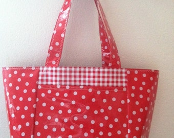Beth's White Dot on Red Large Oilcloth Tote with Exterior Pockets