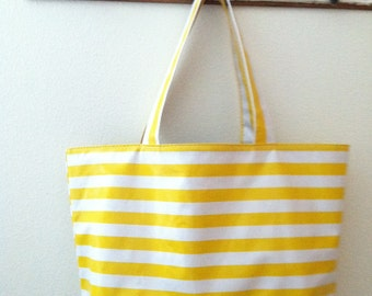 Beth's Big Yellow Stripes Oilcloth Market Tote Bag