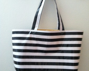 Beth's Big Black Stripes Oilcloth Market Tote Bag