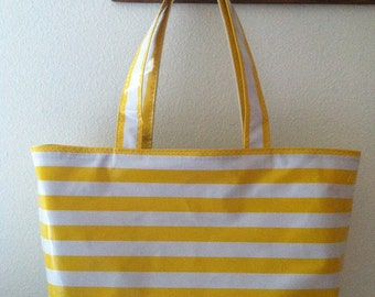 Beth's Large Yellow Stripes Oilcloth Market Tote Bag