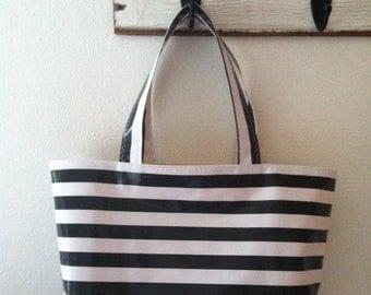 Beth's Large Black Stripes Oilcloth Market Tote Bag