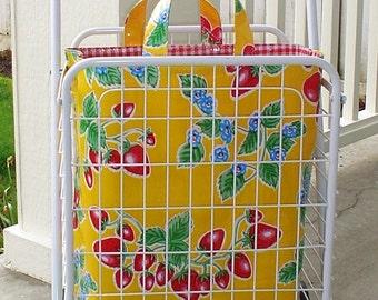 Beth's Yellow Strawberry Oilcloth Tote Bag for Wheels