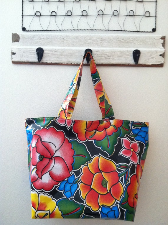 20% off of Beth's Big Black Tehuana Flower Power Oilcloth Market Tote Bag