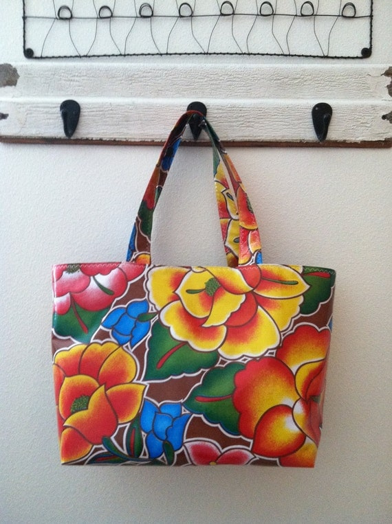 Beth's Large Brown Tehuana Flower Power Oilcloth Market Tote Bag