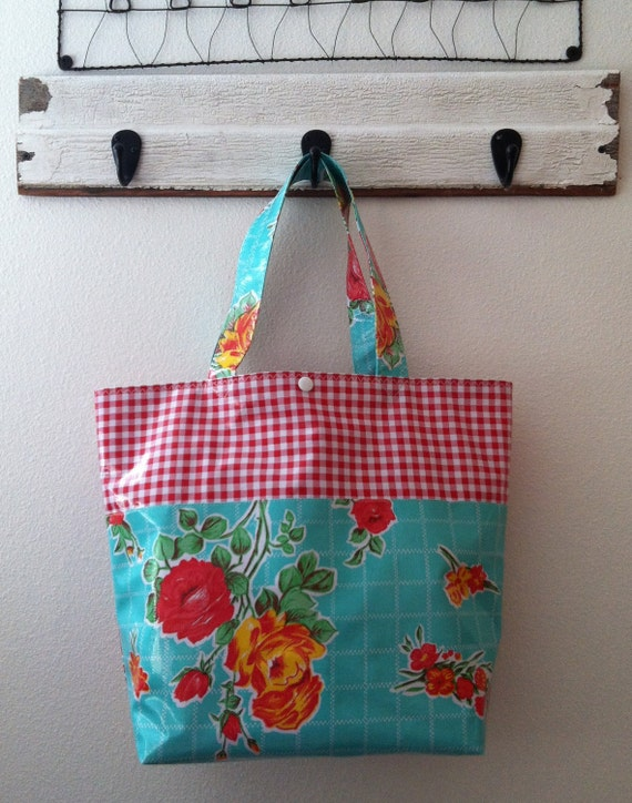 Beth's Aqua Vintage Rose Grocery Style Tote with Red Gingham