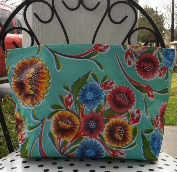 Beth's Large Aqua Bloom Oilcloth Travel Cosmetic Bag