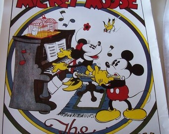 Mickey Mouse Disney The Wayward Canary United Artist Picture poster original tube container