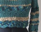 Handknitted Cropped Sweater - Blue Malibu