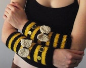 Hand knitted bumblebee armwarmers, fashion wristwarmers