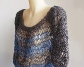 Hand knit spring fashion sweater - blue, gray, grey charcoal