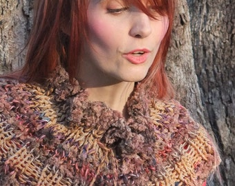 Hand knit wool Collar with pompoms - woodland brown