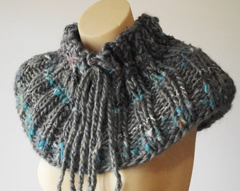 Cowl. knitted collar. knitwear. stormy blue collar with ties. designer knitwear.