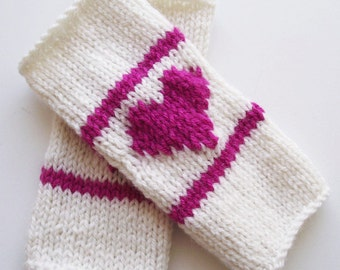 knitted arm warmers, wrist warmers with love heart, white and pink