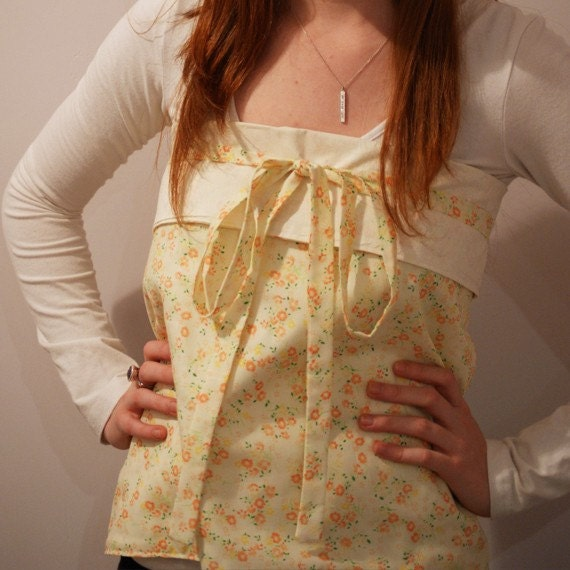 SALE - Was 29 - now 15 - Origami Wrap Apron/Top - Citrus Spring