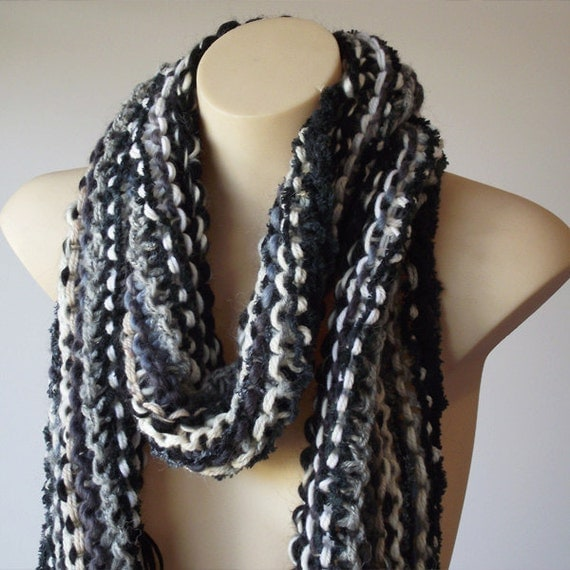 Reserved for Louise - Wide Knit Scarf - Zebra