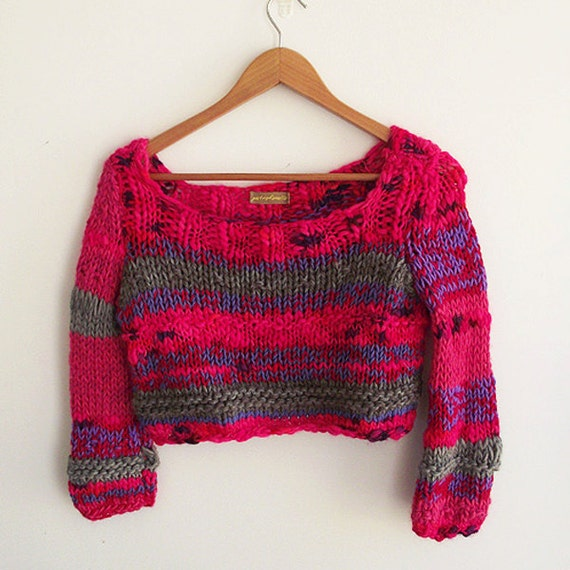 chunky knitted sweater cropped pink chunky jumper colour block acid bright neon winter trends
