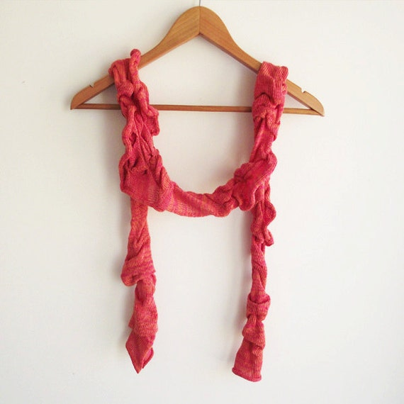 Fine knitted coral rose scarf textured cobweb machine knitted wrap neckwarmer OOAK