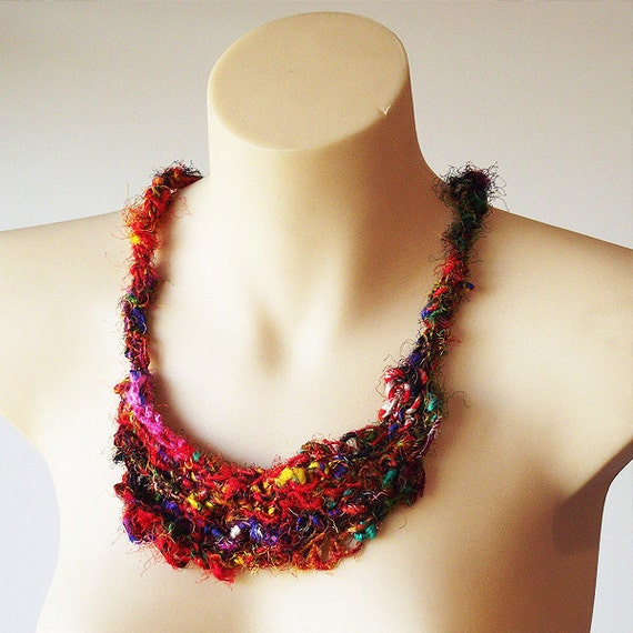 Sari Silk necklace, knitted necklace, textile jewellery