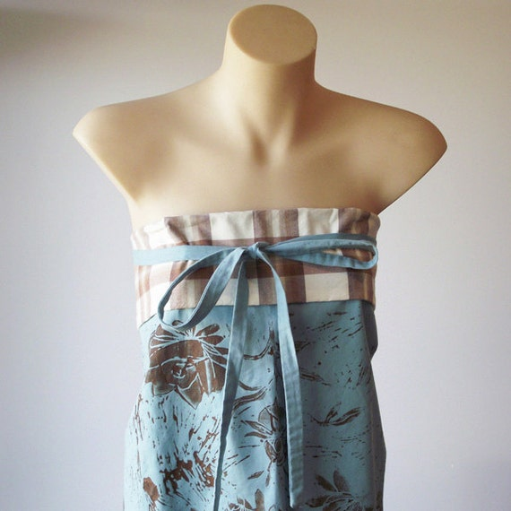 Seafoam Wrap Top, wrap apron with lino print -  spring summer fashion