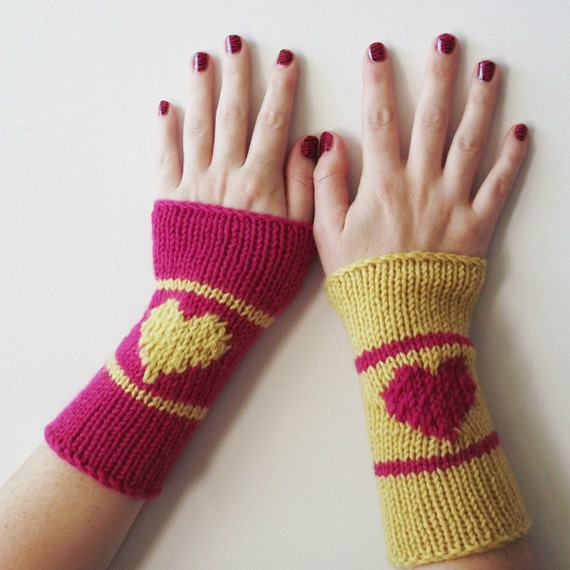 knitted arm warmers, color block wrist warmers with love heart, opposites attract, pink mustard yellow