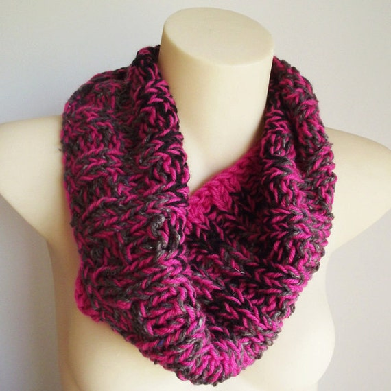 Reserved for GEMMA - Pink Knitted Cowl - Wool Collar - Pink Grey Black Cowl