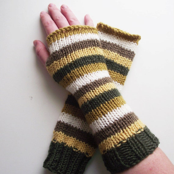 mustard olive green fingerless gloves knitted arm warmers, color block wrist warmers