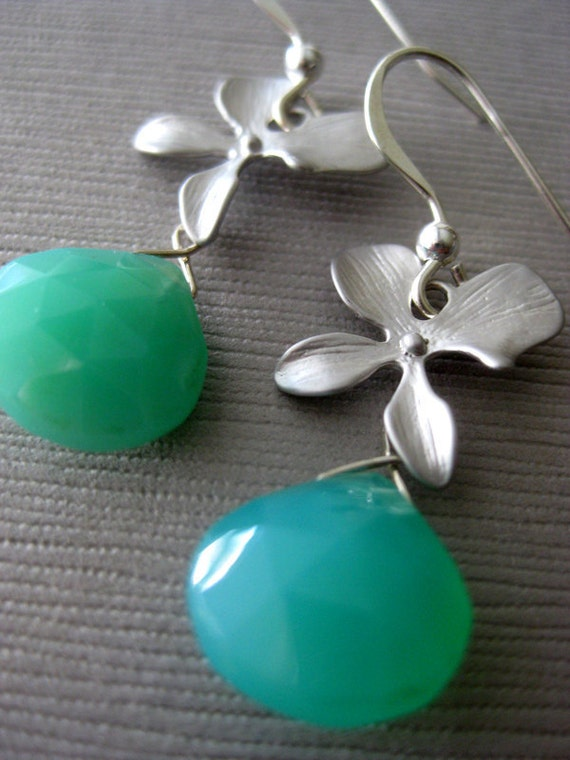 Teal and Silver Orchid Earrings