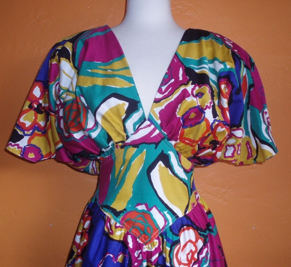 1980s ABSTRACT vibrant FLORAL pierre cardin dress