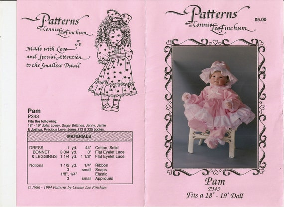 Connie Lee  Finchum Pattern P343 Doll Clothes Pattern - PAM for 18 Inch - 19 Inch Doll