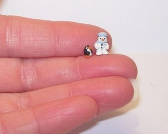 1/144th SCALE DOLLS HOUSE MINIATURE SNOWMAN AND PENGUIN FIGURES