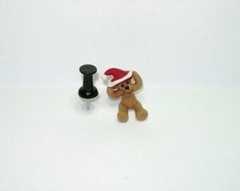 1/12th scale dolls house miniature Christmas teddy bear wearing big santa hat