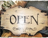 Vintage Style OPEN CLOSED Sign Business French Country Paris Cottage Chic Chippy Shabby Signs