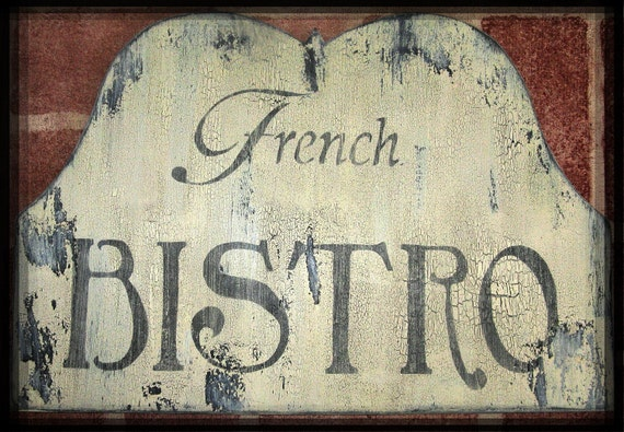 Vintage french bistro sign french country paris cottage chic - Il cottage paris ...